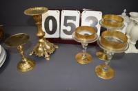 (5) GOLD CANDLE HOLDERS
