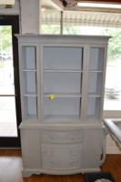 GRAY CHINA CABINET (NO GLASS IN DOORS) 38X15X71 GREAT CONDITION AND LOTS OF STORAGE