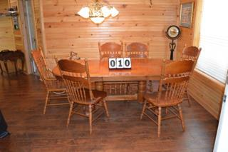 OAK DINING TABLE WITH SIX CHAIRS AND LEAF