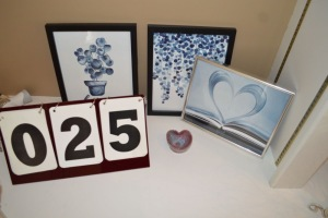 THREE 8X10 PRINTS AND HEART SHAPED DISH