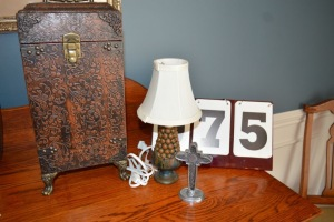 DECORATIVE BOX, LAMP, AND CROSS