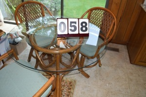 GLASS AND BAMBOO TABLE WITH 4 CHAIRS