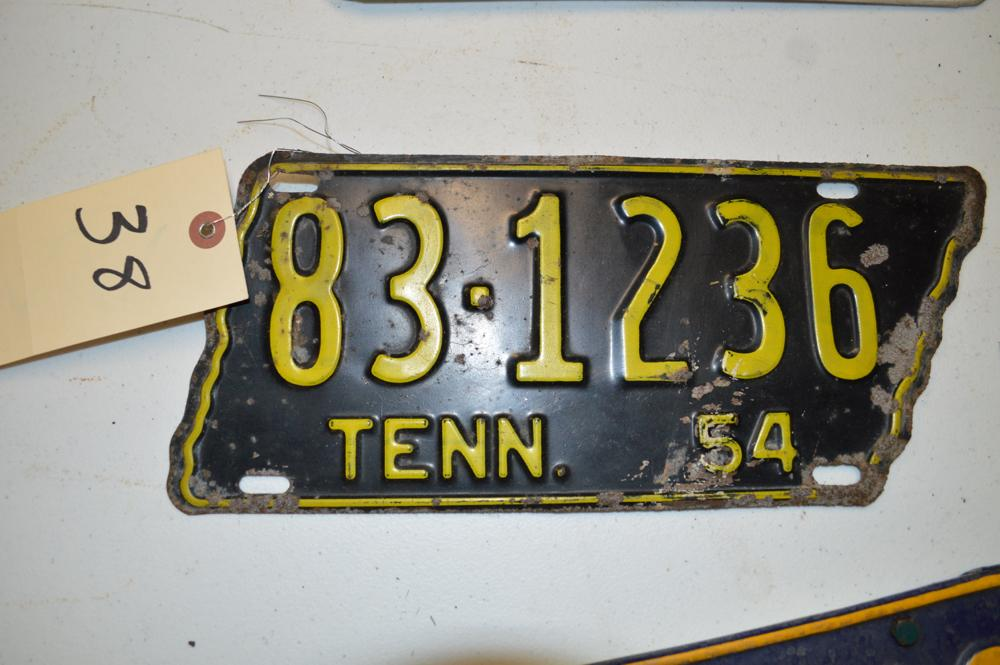 ANTIQUE TENNESSEE LICENSE PLATE-1954 - Current price: $70